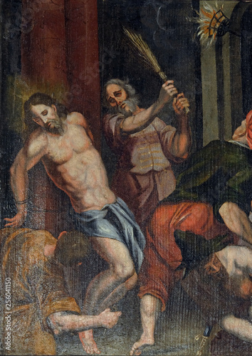 Canvas Print Flagellation of Christ, altarpiece in the Church of the Saint Barbara in Velika