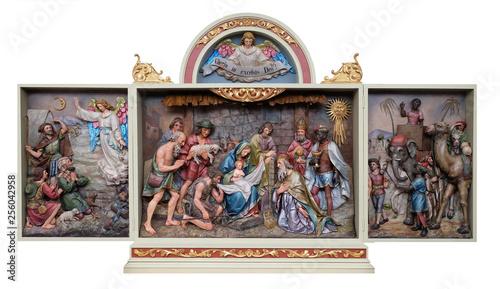 Valokuva STITAR, CROATIA - NOVEMBER 30: Nativity Scene, altarpiece in the church of Saint Matthew in Stitar, Croatia on November 30, 2017