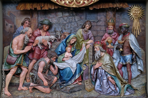 Fotografie, Obraz  STITAR, CROATIA - NOVEMBER 30: Nativity Scene, altarpiece in the church of Saint Matthew in Stitar, Croatia on November 30, 2017