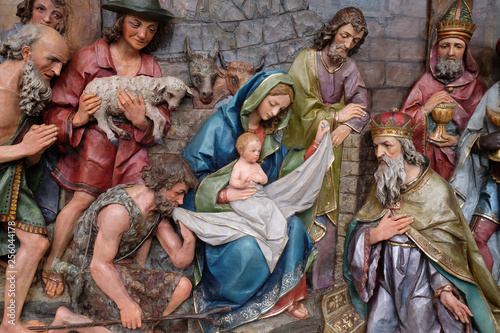 Nativity Scene, altarpiece in the church of Saint Matthew in Stitar, Croatia Wallpaper Mural