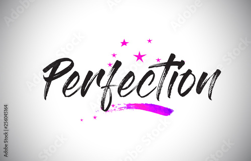 Fotografía  Perfection Handwritten Word Font with Vibrant Violet Purple Stars and Confetti Vector