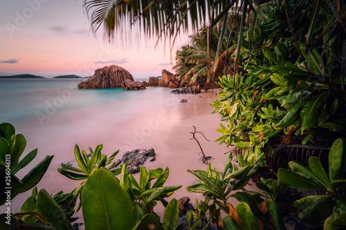 Fotografie, Obraz Paradise exotic beach on La Digue Island, Seychelles