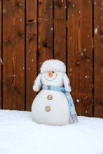 Funny Plush Snowman In Front O...