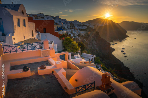 Foto auf Gartenposter Santorini Santorini in Greece in summer hot sunset weather