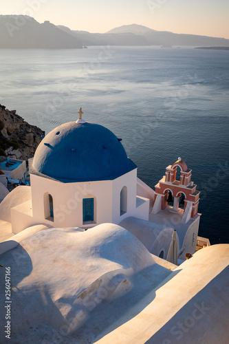 Fototapeta Santorini in Greece in summer hot sunset weather obraz