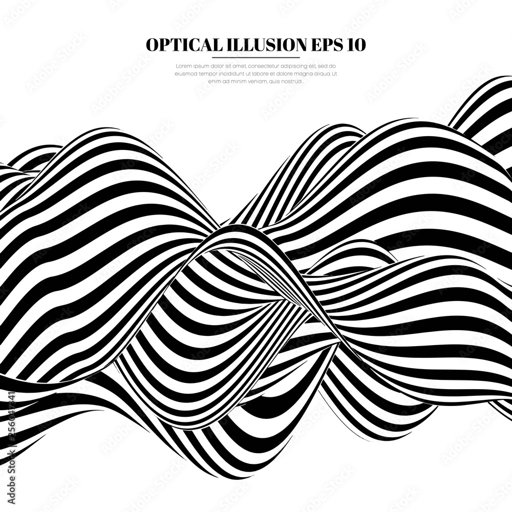 Fototapeta Optical illusion lines background. Abstract 3d black and white illusions. Conceptual design of optical illusion vector. EPS 10 Vector illustration