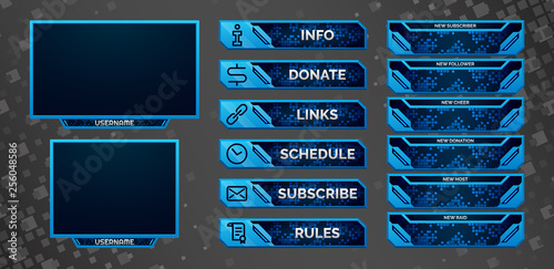 Set of blue gaming panels and overlays for cybersport streamers Fototapeta