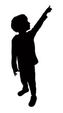 Boy Looking Up, Silhouette Vector