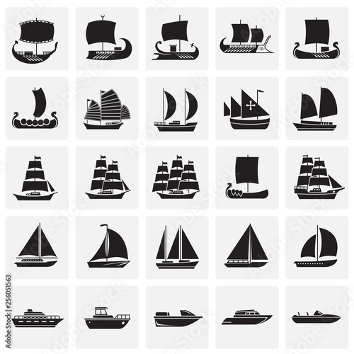 Cuadros en Lienzo Ship icons set on squares background for graphic and web design