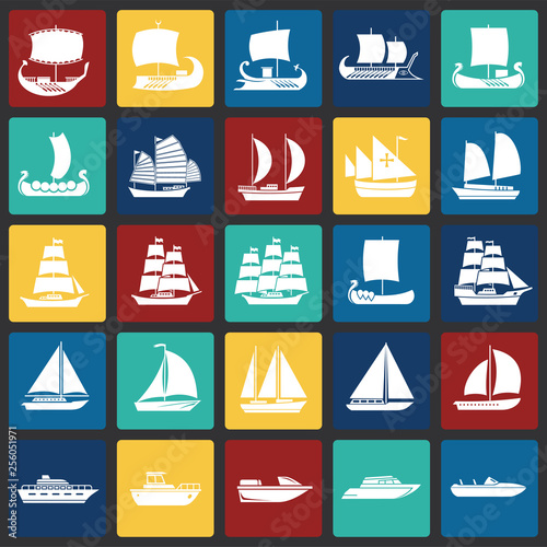 Cuadros en Lienzo Ship icons set on color squares background for graphic and web design