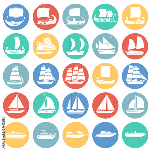 Fotomural Ship icons set on color circles background for graphic and web design