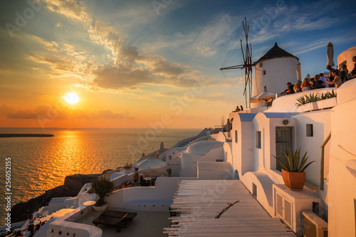Foto auf Gartenposter Santorini Santorini greece famous Oia in sunset time golden hour