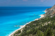 Panoramic landscape with blue waters, Lefkada, Ionian Islands, Greece