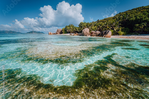 Valokuva  Famous tropical beach Anse Source d'Argent with granite boulders, La Digue Islan