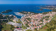 Aerial shot of Vrsar/Orsera (Venetian: 'Orsera') a small town in Istria, Croatia.