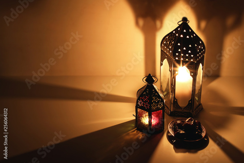 Ornamental Arabic Lanterns Burning Candles Glowing At Night