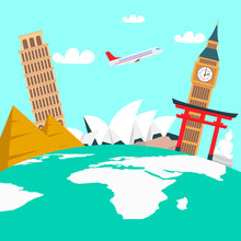 World Tour, Vacation Color Vector Illustration