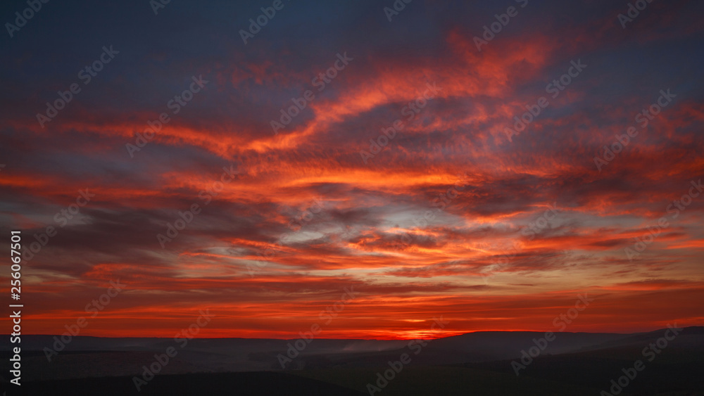 Fototapety, obrazy: Colorful magnificent sunset in countryside above hills and fields, beauty nature background