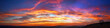 Leinwandbild Motiv Panorama colorful magnificent sunset in countryside above hills and fields, beauty nature background