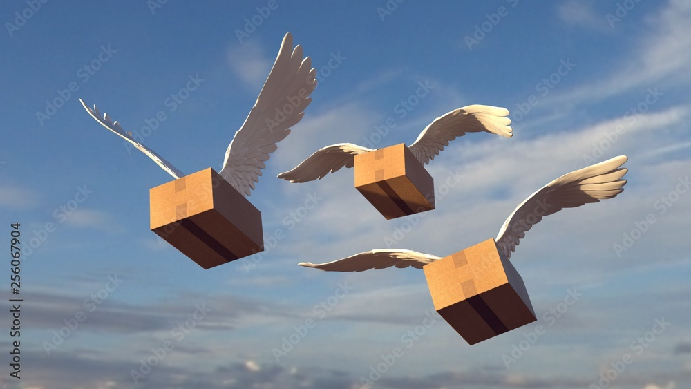 Fototapeta We send it to you everywhere flying. Package with wings.
