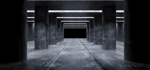 Columns Grunge Concrete Sci Fi Elegant Modern Futuristic Spaceship Underground Tunnel Hall Gallery Room Empty Space Tiled Floor Reflections Abstract Background Alien 3D Rendering