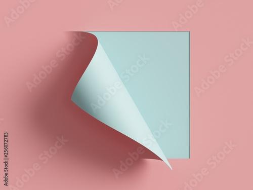 Foto 3d render, pink blue note paper, curled corner, page curl