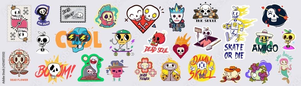 Fototapeta Set of funny cartoon varied skull stickers.