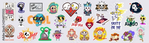 Obraz Set of funny cartoon varied skull stickers. - fototapety do salonu