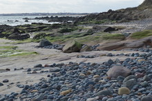 The Beach At Lower Largo, Fife With Decorative Rock Formation And Sand Dunes