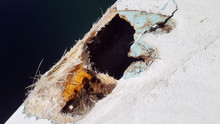 Closeup Of A Damaged Fiberglass Boat