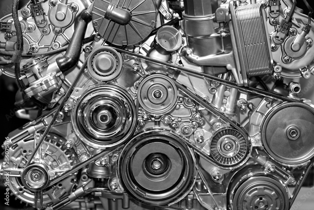 Fototapety, obrazy: Close-up at view, details of petrol engine, shiny and new