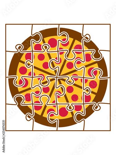 Fotografie, Obraz  puzzle pizza fast food essen lecker hunger backen rund teil puzzlespiel puzzlete