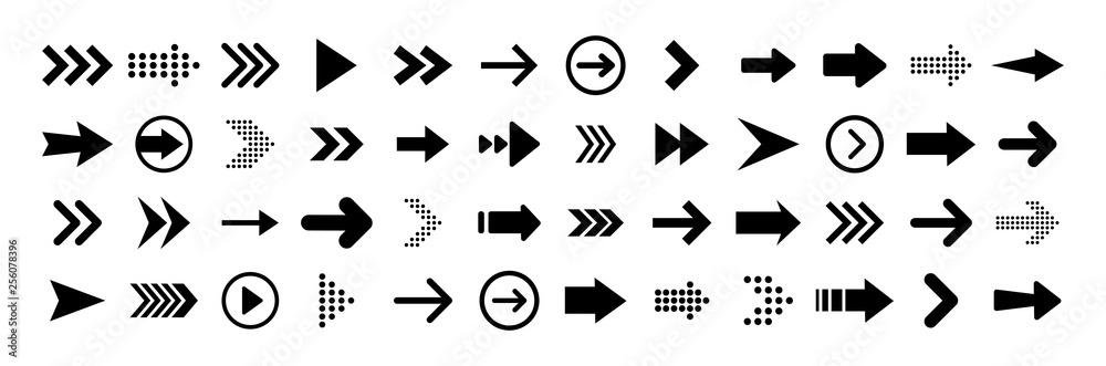 Fototapeta Arrows big black set icons. Arrow icon. Arrow vector collection. Arrow. Cursor. Modern simple arrows. Vector illustration.