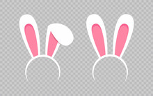 Rabbit Ear Hat. Happy Easter Web Banner. Greeting Card With Rabbit. Bunny Ears. Vector Illustration.