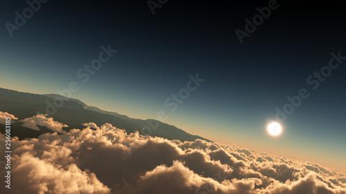 Foto auf Leinwand Blaue Nacht High Altitude Above The Clouds Environment Background