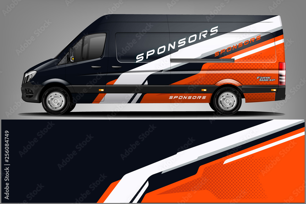Fototapeta Van wrap design. Wrap, sticker and decal design for company. Vector format