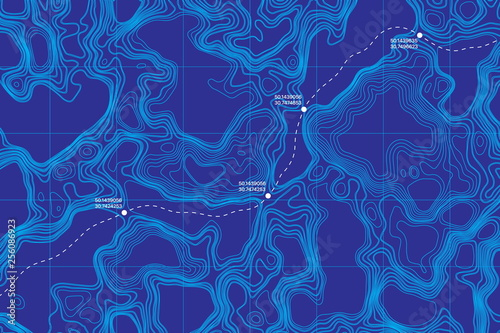 Spoed Foto op Canvas Violet View From Above Lie Of The Ground Conceptual Vector Topographic Map With Route And Coordinates Abstract Blue Background. Topography Landscape. Topography Geography. Topographic Map