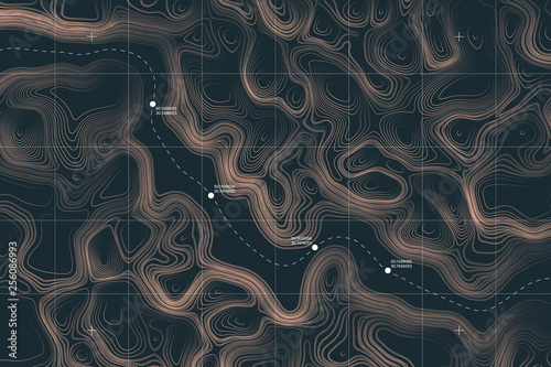Fotografía View From Above Alien Terrain Conceptual Vector Topographic Map With Route And Coordinates User Interface Abstract Background