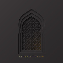 Ramadan Kareem Greeting Background. 3d Paper Cut Arabic Window Decorated Pattern In Traditional Islamic Style. Design For Greeting Card, Banner Or Poster. Vector Illustration.