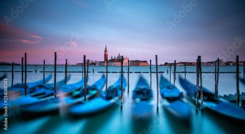 Wenecja Włochy Fotografia długich ekspozycji z widokiem na gondole