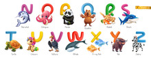 Zoo Alphabet. Funny Animals, 3d Vector Icons Set. Letters N - Z Part 2. Narwhal, Octopus, Panda, Quokka, Rabbit, Shark, Turtle, Unicorn, Vulture, Whale, X-ray Fish, Yak, Zebra