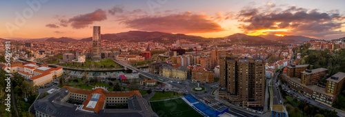 Poster Marron chocolat Bilbao waterfront during sunset Basque Country Spain aerial view