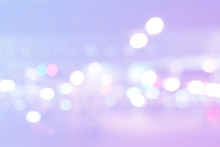 Abstract Purple And Blue Bokeh. Pastel Light Texture. Beautiful Pink, Blue Blurred Round Background