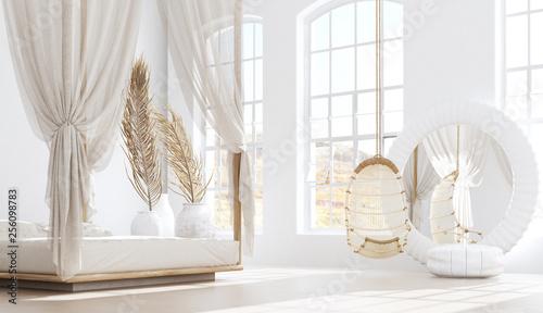 Foto auf AluDibond Boho-Stil Open bedroom with living room, Scandinavian bohemian style, 3d render
