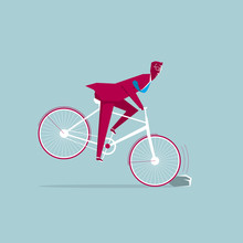 The Bicycle Has Encountered Obstacles. Isolated On Blue Background.