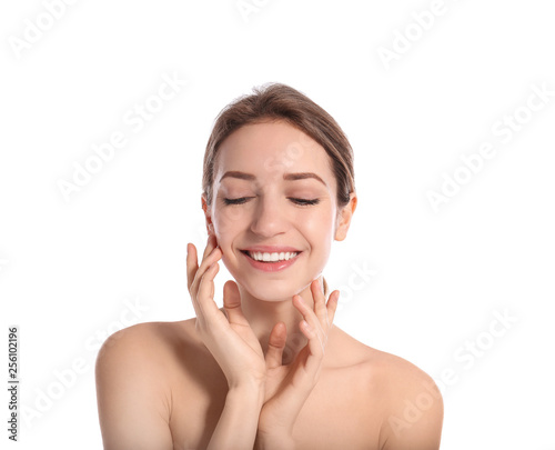 Fototapety, obrazy: Portrait of young woman with perfect smooth skin on white background. Beauty and body care