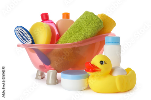 Baby bathing accessories and toy on white background Fotobehang