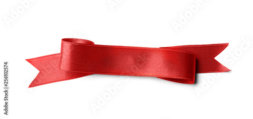 Obraz na plátně Beautiful satin ribbon on white background. Mockup for design