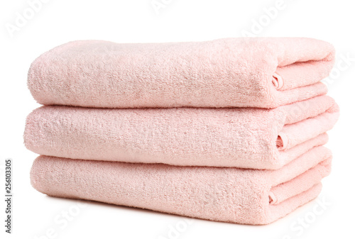 Folded soft terry towels on white background Canvas Print