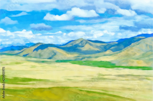 Montage in der Fensternische Pool Drawing watercolor. Mountain landscape.